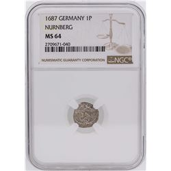 1687 Germany 1 Pfennig Nurnberg Coin NGC MS64