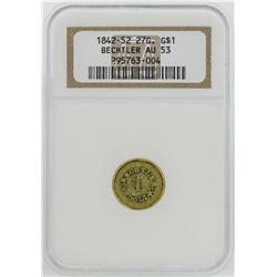 1842-52 $1 Bechtler Territorial Gold Coin NGC AU53