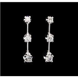 14KT White Gold 0.50 ctw Diamond Dangle Earrings