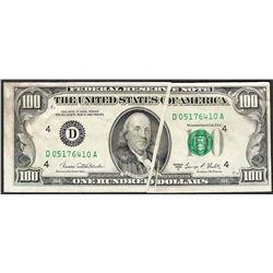 1969C $100 Federal Reserve Note Gutter Fold ERROR