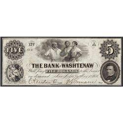 1854 $5 The Bank of Washtenaw Obsolete Note