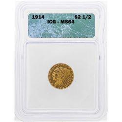 1914 $2 1/2 Indian Head Quarter Eagle Gold Coin ICG MS64