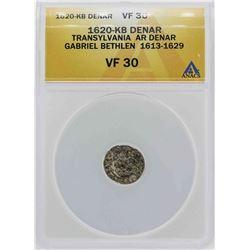 1620-KB Transylvania Denar Gabriel Bethlen Coin ANACS VF30