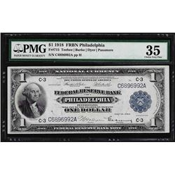 1918 $1 Federal Reserve Bank Note Philadelphia Fr.715 PMG Choice Very Fine 35