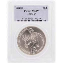 1996-D $1 Tennis Olympic Commemorative Silver Dollar Coin PCGS MS69