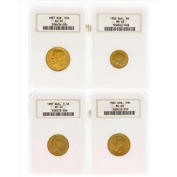 Set of (4) 1897-1904 Russian Roubles Gold Coins NGC Graded