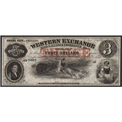 1857 $3 The Western Exchange Nebraska Obsolete Note