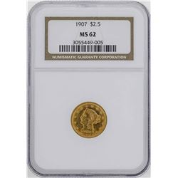 1907 $2 1/2 Liberty Head Quarter Eagle Gold Coin NGC MS62