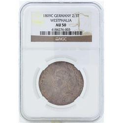 1809C Germany 2/3T Westphalia Coin NGC AU50