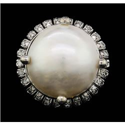 14KT White Gold Mabe Pearl and Diamond Ring