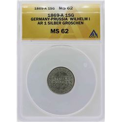 1869-A Germany-Prussia Silber Groschen Coin ANACS MS62