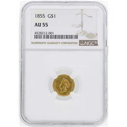 1855 $1 Indian Princess Head Gold Dollar Coin Type 2 NGC AU55