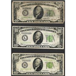 Lot of 1928B & 1934 $10 Federal Reserve Notes