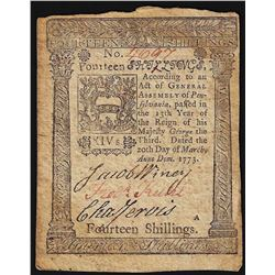 March 20, 1773 Pennsylvania 14 Shillings Colonial Currency Note