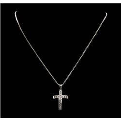 14KT White Gold 1.05 ctw. Diamond Cross Pendant with Chain