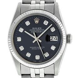 Rolex Mens 36mm Stainless Steel Black Diamond Datejust Wristwatch