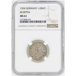 1524 Germany 1/2BAT Kempten Coin NGC MS61