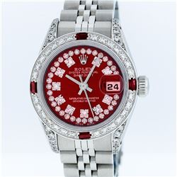 Rolex Ladies Stainless Steel Ruby and Diamond Datejust Wristwatch
