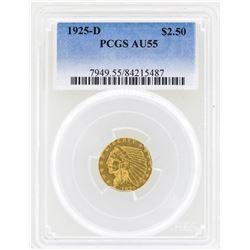 1925-D $2 1/2 Indian Head Quarter Eagle Gold Coin PCGS AU55