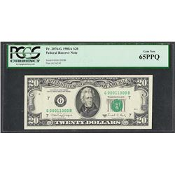1988A $20 Federal Reserve Note Fr.2076-G PCGS Gem New 65PPQ Fancy Serial