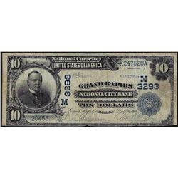 1902 $10 Grand Rapids National City Bank National Currency Note CH#3293