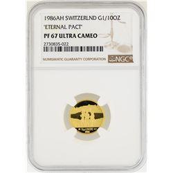 1986-AH Switzerland 1/10 oz Eternal Pact Gold Coin NGC PF67 Ultra Cameo