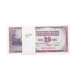 Lot of (83) Consecutive 1978 20 Dinara Yugoslavia Uncirculated Notes