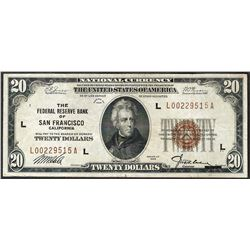 1929 $20 The Federal Reserve Bank of San Francisco Note