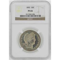1892 Barber Half Dollar Proof Coin NGC PF65