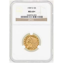 1909-D $5 Indian Head Half Eagle Gold Coin NGC MS64+