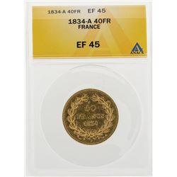 1834-A 40 Francs Gold Coin ANACS EF45
