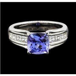 14KT White Gold 2.04 ctw Tanzanite and Diamond Ring