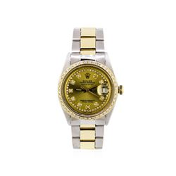 Mens Two-Tone Rolex Datejust Watch with 1.19 ctw Diamond Bezel & Dial