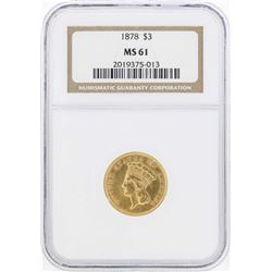 1878 $3 Indian Princess Head Gold Coin NGC MS61
