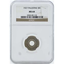 1927 Palestine 5 Mills Coin NGC MS64