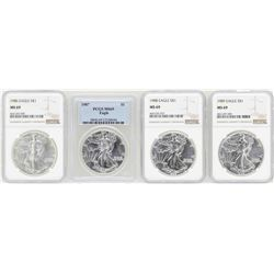 Lot of 1986-1989 $1 American Silver Eagle Coins PCGS/NGC MS69