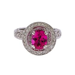 18KT White Gold 2.00 ctw Pink Topaz and Diamond Ring