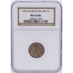 1955 Doubled Die Lincoln Wheat Penny NGC MS63BN