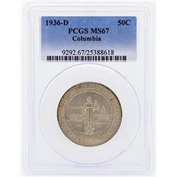 1936-D Columbia Commemorative Half Dollar Coin PCGS MS67
