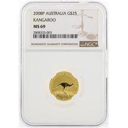 2008P $25 Australia Kangaroo Gold Coin NGC MS69