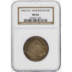 1950-S Booker T. Washington Memorial Half Dollar Coin NGC MS64