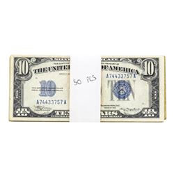 Lot of (50) 1934 $10 Silver Certificate Notes