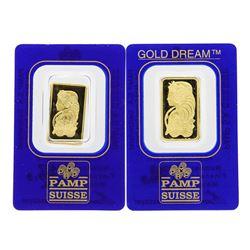 Lot of 2.5 & 5 gram PAMP Suisse .9999 Fine Gold Ingot Bars