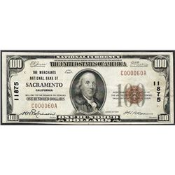 1929 $100 Merchants National Bank of Sacramento Note CH# 11875 Low Serial