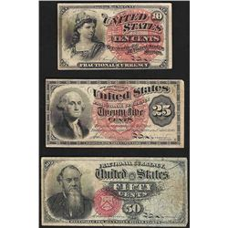 Set of March 3, 1863 10/25/50 Cent 4th Issue Fractional Notes