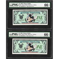 Lot of (2) Consecutive 1988 $1 Disney Dollars Notes PMG Gem Uncirculated 66EPQ