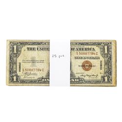 Lot of (25) 1935A $1 Hawaii WWI Emergency Silver Certificate Notes