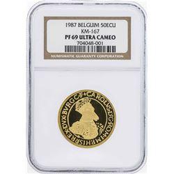 1987 Belgium 50 Ecu 1/2 Oz. Gold Coin NGC PF69 Ultra Cameo