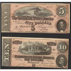 Set of 1864 $5 & $10 Confederate States of America Notes