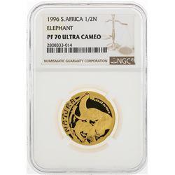 1996 South Africa 1/2 Natura Elephant 1/2 oz Gold Coin NGC PF70 Ultra Cameo